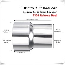 "3.01"" to 2.5"" Stainless Steel Standard Exhaust Pipe Pipe Connector Adapter Reducer Tube(China)"
