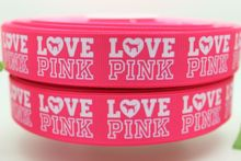 DHK New 7/8'' Free shipping love pink printed grosgrain ribbon hairbow diy party decoration wholesale OEM 22mm P976(China)