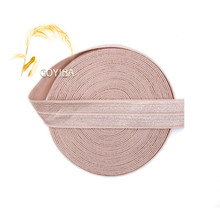 "GOYIBA 5 Yard 5/8"" 1.5cm Vanilla Solid FOE Fold Over Elastics Spandex Satin Bands Kids Hairband Headband Lace Trim Sewing Notion"