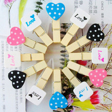 12pcs/set Fashion Mini Red Black White Clip Wooden Clothes Pin Photo Paper Peg Clothespin Craft Clips Fast Shipping D