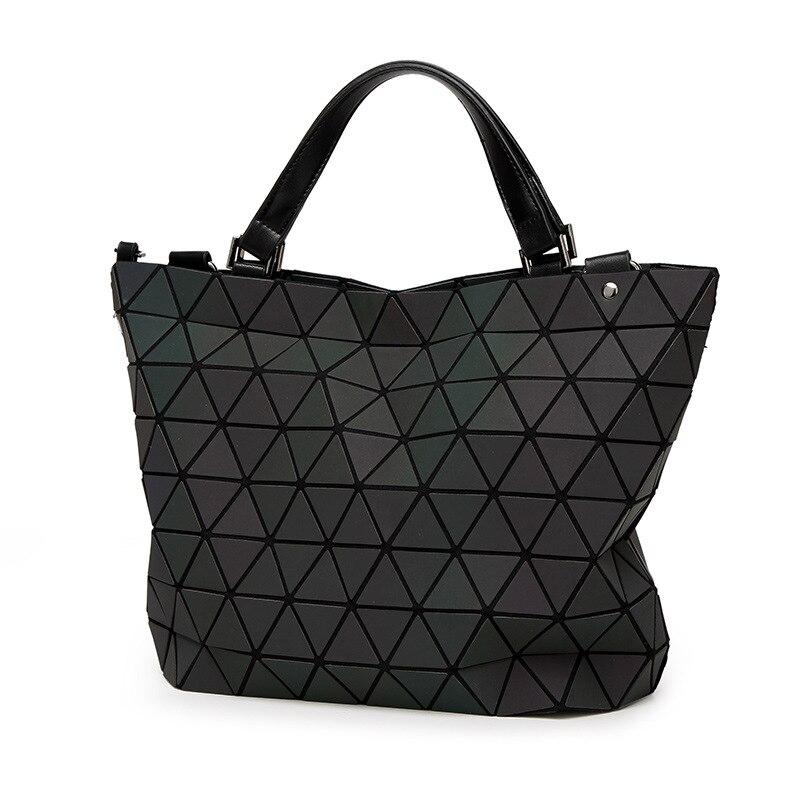 Women BaoBao Bag Geometry Sequins Mirror Saser Plain Folding Bucket Bags Luminous Handbags Ladies Casual Tote Bao Bao Package<br>