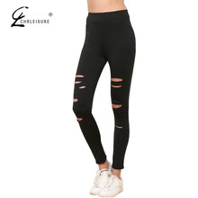 Buy CHRLEISURE Women Hole Black Leggings Fashion Ripped Breathable Leggins Workout Quick Drying Bodybuilding Leggings Women S-XL for $6.98 in AliExpress store