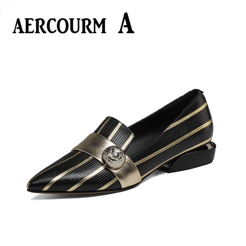 Aercourm A 2017 New Spring Summer Genuine Leather Shoes Woman High Quality Black Bottom High Heels Pointed Toe Womens Shoes<br>