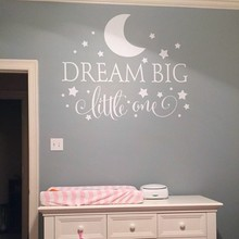 Dream Big Little One Quotes Wall Decal, Nursery Wall Sticker Baby Bedroom Art Decor, Kids Wall Sticker Stars Wall Decals X251
