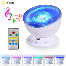 T-SUN Remote Control Ocean Wave Projector Aurora Night Light Projector with Build-in Speaker Mood Light for Baby Nursery Adults(China)