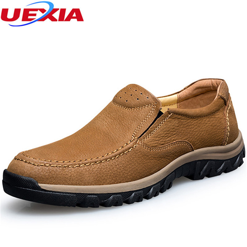 Plus Size 47 Casual Leather Flats Cow Leather Oxfords Men Shoes Hand Made Outdoor Rubber Dress Shoes Sapatilhas chaussure homme<br>