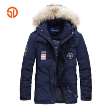 2017 Winter Hooded Jacket Coat Men Outwear Thickened Warm Removable Hat Epaulet Blue Khaki XXXXL Plus Size M-4XL Wholesale(China)