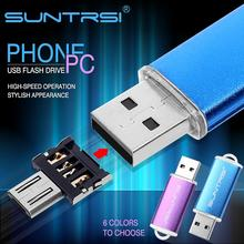 Suntrsi USB Flash Drive OTG Adapter Metal Pen Drive 32GB Pendrive for Smart Phone Android USB Stick Turn into Phone Flash Drive