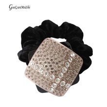Square Acetate Cellulose Hair Accessories with Multi Rhinestones Hair Rope Retail for Women Jewelry clip gifts free shipping