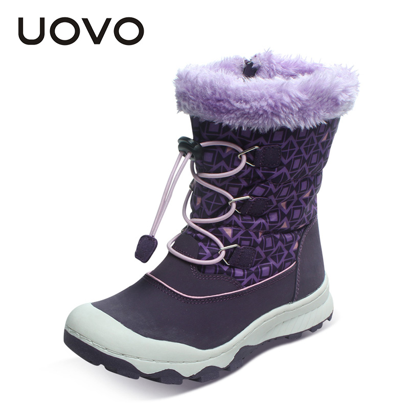 UOVO 2017 Newest Children Boots Waterproof Girls Boots Warm Kids Snow Boots Zip and Bungee Lacing Sport Boos for Girls Non-slip<br>