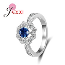 JEXXI Classic Flower Shape Blue Crystal Rhinestone Women Wedding Propose Engagement Rings Fashion 925 Stamp Silver Jewelry