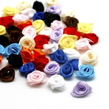 Handmade 200PCS Satin Ribbon Rosettes Fabric Flower Girl's Dress Bow Appliques for Wedding Decor DIY Sewing Accessories