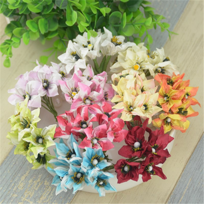 72 шт./лот 9 цветов 2.5 см Hand Made Малый Бумага Лили Цветы Букет используется forWedding или DIY подарок украшение(China)