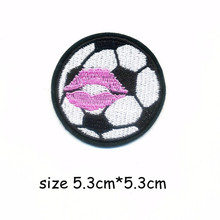 1PCS 5.3cm*5.3cm Football Kiss Embroidery Patch for Clothing Iron on Embroidered Sew Fabric Badge Garment DIY Apparel Applique
