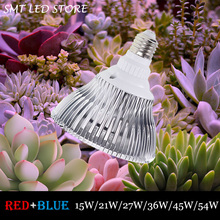 54W E27 85-265V High power LED Grow light 14 red 4 blue for flowering plant and hydroponics system Limited Time Offer