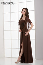 2017 Brown Mother Dresses Floor Length Chiffon Sweetheart Neckline A-line For Mon Of The Bride Vestido De Festa(China)