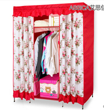 New 130*45*172cm Washable cotton flannel big wedding folding red wardrobe bedroom furniture closet for clothes cabinet baby home