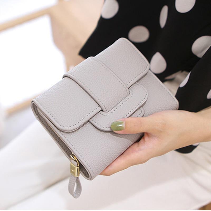2017 Women Short Wallet Luxury Tri-Folds Clutch PU Leather Coin Purse Card Holders Handbag High Quality Free Shipping P409<br><br>Aliexpress