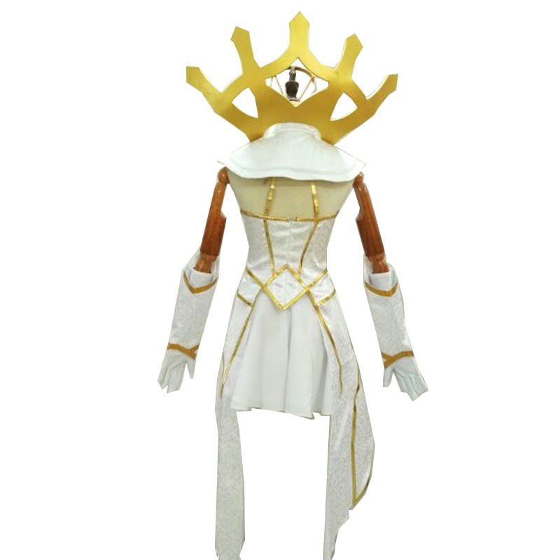 Coshome LOL Lux Cosplay Wigs Costumes Women White Dress Girls Halloween Summer Outfit Uniforms (2)