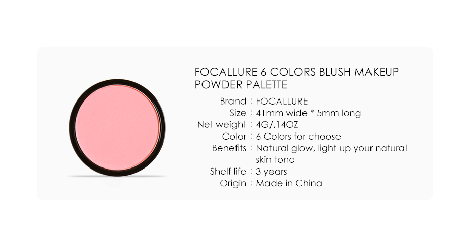FOCALLURE 6 Colors Blush Makeup Cosmetic Natural Pressed Blusher Powder Palette Charming Cheek Color Make Up Face Blush 8