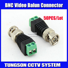 50Pcs/lot Mini Coax CAT5 To Camera CCTV BNC UTP Video Balun Connector Adapter BNC Plug For CCTV System. Free Shipping !!