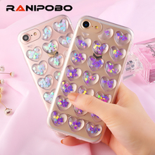 luxury Fashion Love Heart Soft TPU Peach Heart Jelly Blue Pink Phone Back Cover Girl Phone Case For iPhone 6 6S 6 Plus 7 7 Plus