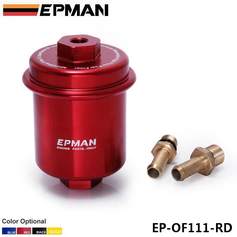 Sport Anodized Red High Flow Turbo Fuel Filter Jdm Integra RS LS GSR B18 EP-OF111-RD