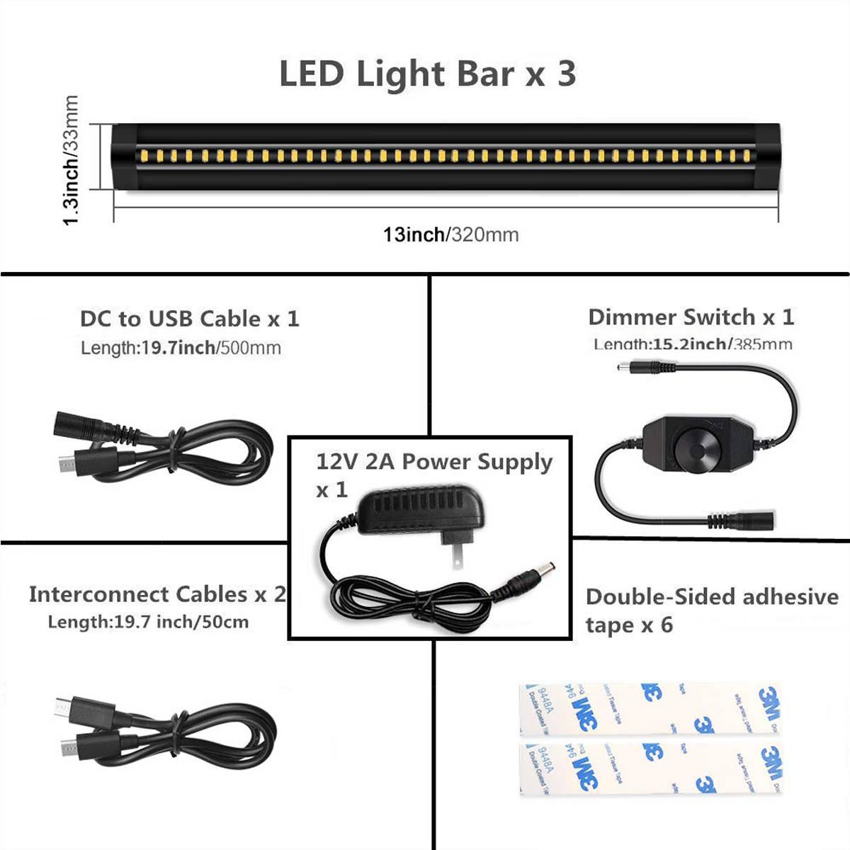 30CM LED Under Cabinet Strip Light Bar Lamp CRI90 Warm Dimmable Waterproof Table Lamp desk light For Reading Study Office Light 12