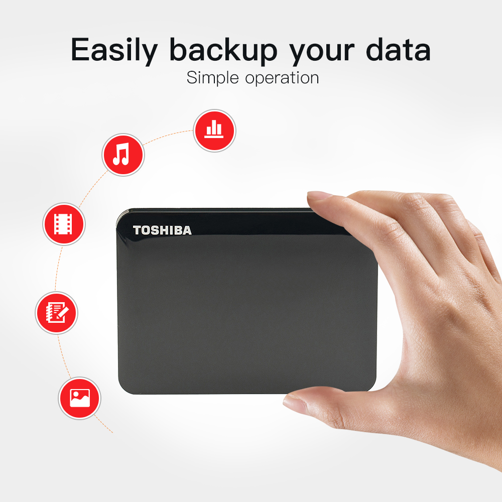 "Toshiba HDD 2TB Canvio Connect USB 3.0 2.5"" Inch Portable External Hard Disk Drive Mobile Desktop Laptop Encryption HDTC920YK3AA"