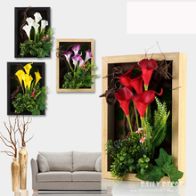 High simulation 3D artificial PU flowers Calla lily Plant frame bonsai wall painting fresco Three-dimensional mural Plant frame(China)