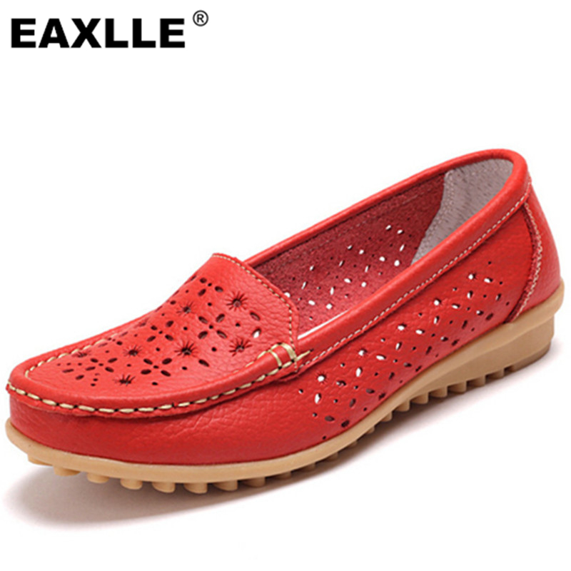 2017 Genuine Leather Oxfords Sole Round Toe Women Flat Shoes 4 Colors Leisure Lady Casual Shoes Hollow Womens Loafers JJ808<br><br>Aliexpress