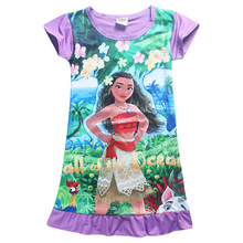 3-10Y 2017 New Cartoon Summer Children Kids Girl Vest Dress Fashion Moana Clothing Cute Design Girls Princess Dresses Nightgown(China)