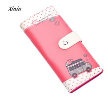 Women Wallets Lovely Car Printing Pattern Hasp Coin Purse Long Wallet Card Holders Handbag Ladies Bifold Wallet Carteira(China)