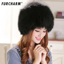 Real Fox Fur Hats Women Cap Natural Fox Fur Balls Casual Hats Fashion Earmuffs Knitted Beanies Solid Adult Women Popular Hats