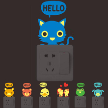 Hot sale 1PCS new Luminous DIY 3D Cute Cartoon cat Switch sticker home decor living room wall stickers for kids rooms bedroom(China)
