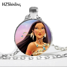 NS-00749 New Fashion Pocahontas Princess Glass Photo Cabochon Necklace Handmade Pocahontas Jewelry Art Photo Necklace HZ1(China)