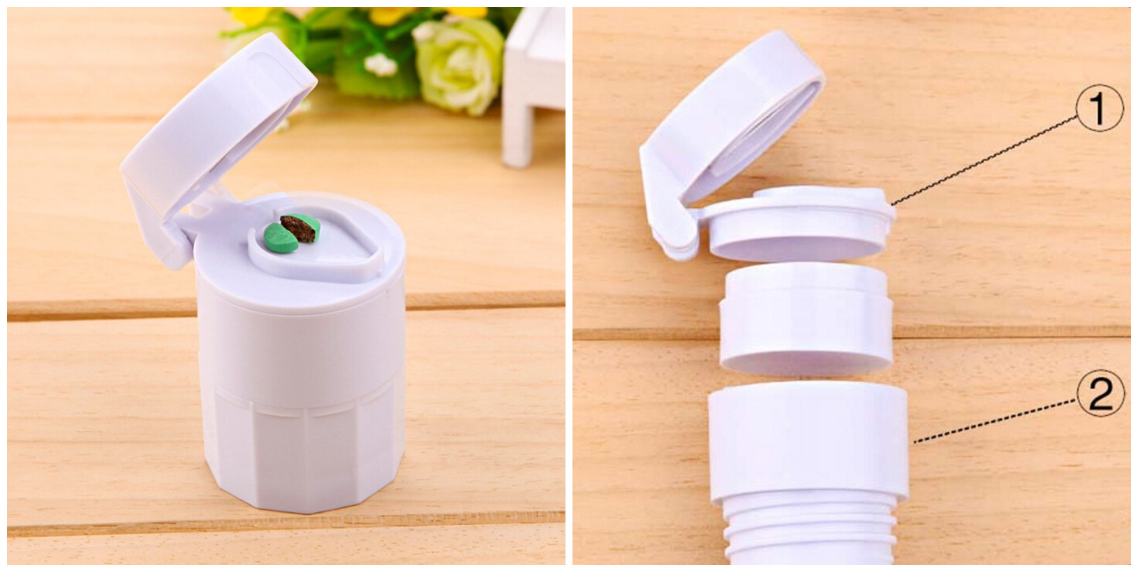 4 in 1 Pill Cutter Portable 4 Layer Powder Tablet Grinder Powder Medicine Storage Box Divider Splitter Tablet Cutter
