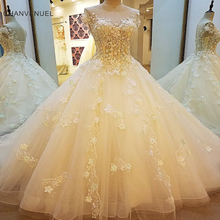 Buy LS00108 Luxury wedding dress bridal beading line short sleeves lace wedding gowns vestidos de noivas real photos for $228.47 in AliExpress store
