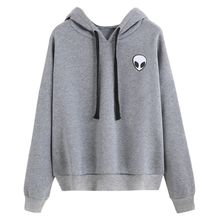 Women Autumn Casual Pullovers Hoodies Sweatshirt Girls Loose Alien Embroidery Hoodies Tops(China)