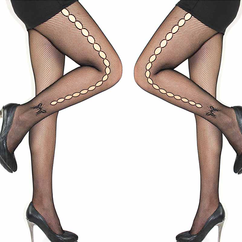 Sexy Women's or Girls, Core Wire Jacquard Club Panties, Knitting Net Thin Pattern Tattoo Fishnet Stockings 6