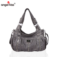 Angelkiss Brand PU Washed Handbags Women Shoulder Bags Hobos Handbag For Women Messenger Bags High Quality Snakeskin Pattern Bag