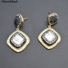 Natural White Pearl Square Beads Dangle Earrings Anti-rust Gold Color Plating Metal Copper Popular Woman Party Jewelry(China)