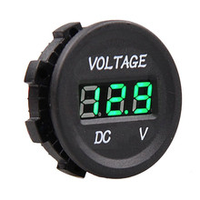 Round Panel 12V-24V Car Motorcycle LED DC Digital Display Voltmeter Waterproof Meter for Marine Vehicle UTV Camper Caravan