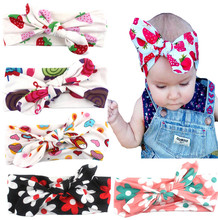 girls elastic hair bands fabric bows kids head wraps accessory ears headbands satin flower hairband headwear wewborn(China)