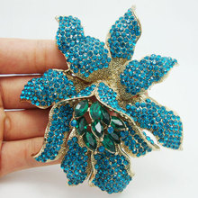 Fashionable Rhinestone Flower Jewelry Vintage Style Blue Rhinestones Crystal Orchid Flower Brooch Pin Free Shipping