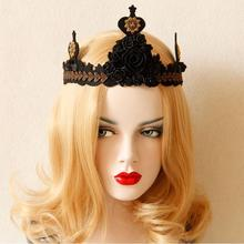 Fashion Royal Vintage Queen Crown Style Lace Hair Band Queen Rose Rrom Party Hair Accessory Night Club Evening Formal Headbands
