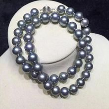 gorgeous 10-11mm round south sea round silver grey pearl necklace 18inch 925s>Selling jewerly free shipping