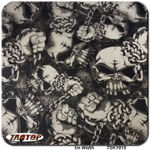 1m*10m TSKY815 Shackle and Skull 3d Hydrographic Films Water Transfer Film Aqua Print Water Transfer Printing Film(China)