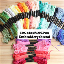 RN331 The new 50-color 100Pcs non-woven cotton stitch line DIY embroidered cotton embroidery thread embroidery soles(China)