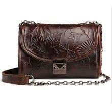 YIANG Women Genuine Embossed Leather Bag Luxury Ladies Small Satchel Purse Oil Wax Cowhide Vintage Messenger Shoulder Bags